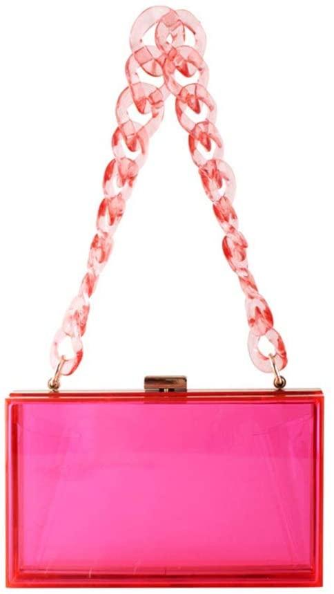 Guilin Evening Bag Women Lady Acrylic Handbag Evening Clutch Bridal Wedding Party Prom Wallet Purse Hot Pink Acrylic Chain