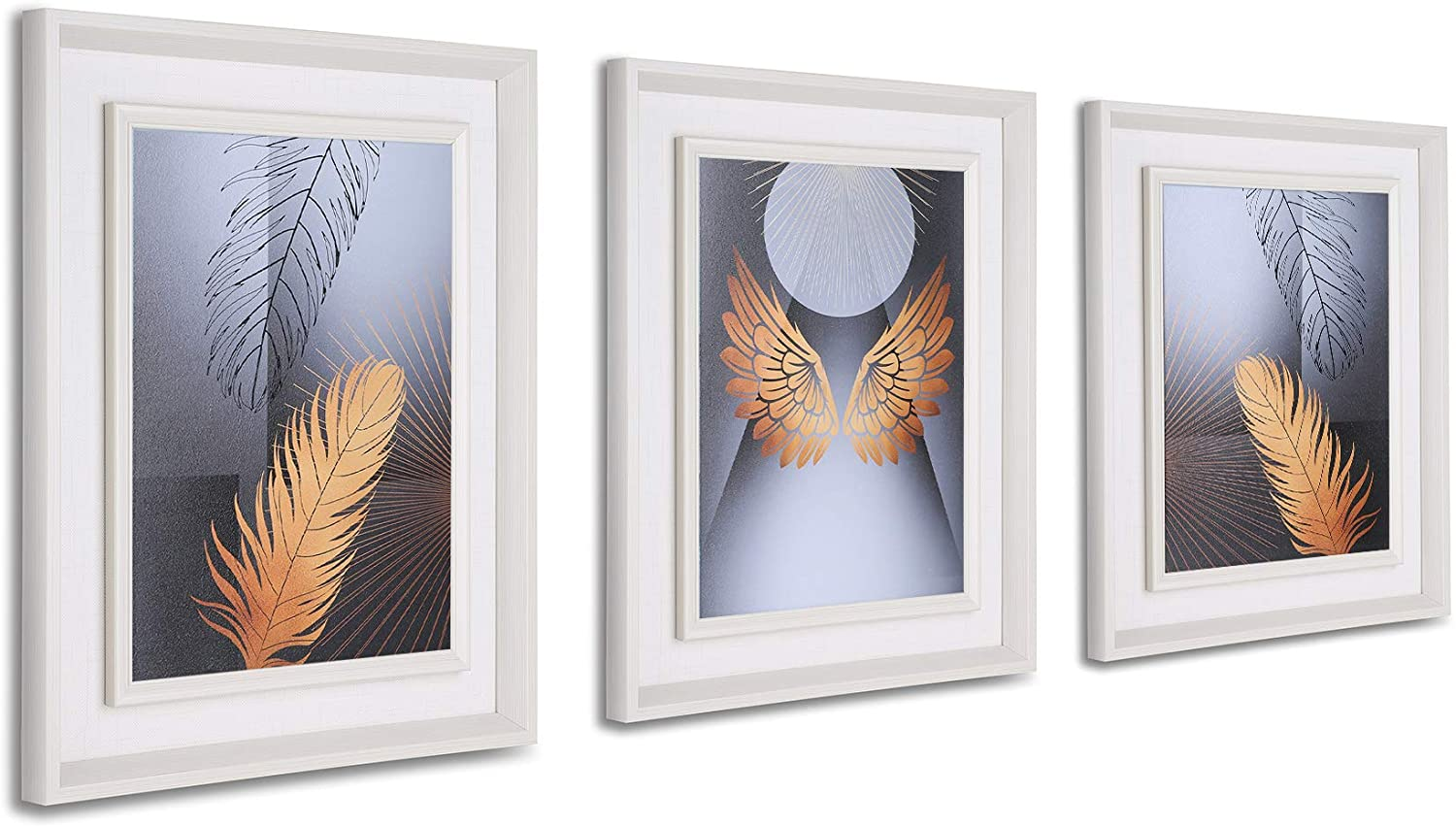 SuXiuSilk 3 Pieces Canvas Wall Art, Golden Feather Prints Wall Decor Abstract Art Painting Contemporary Modern Picture Living Room Kitchen Office Home Decor (Golden Feather)