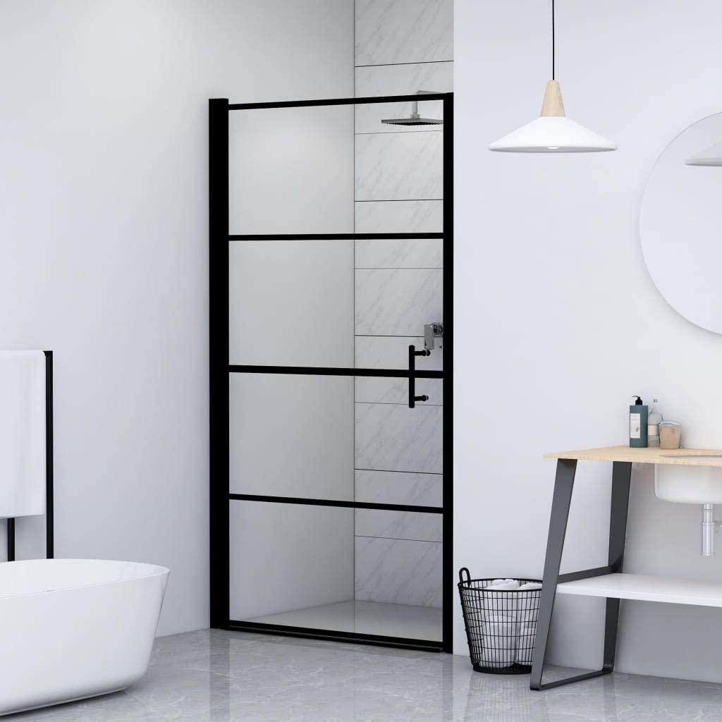 Extaum Shower Doors for Walkin Shower, Walk-in Shower Screen,Shower Doors,Tempered Glass Shower Door,Tempered Glass Black(39.4
