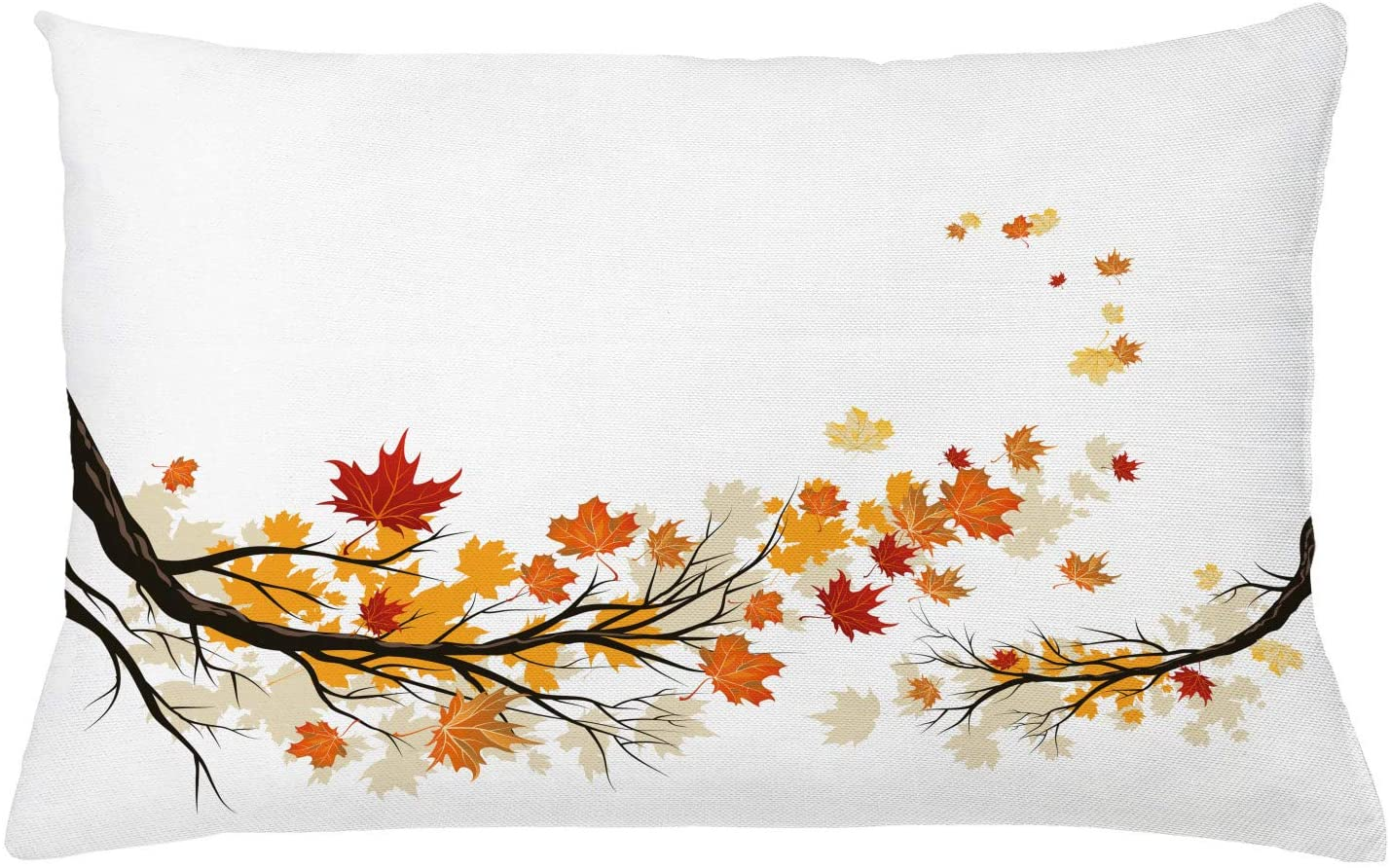Ambesonne Fall Throw Pillow Cushion Cover, Swirling Bended Fall Tree Branches with Colored Leaves Pastoral Season Theme, Decorative Rectangle Accent Pillow Case, 26