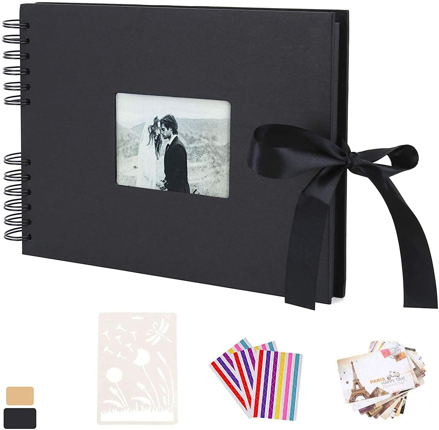 Scarpbook Photo Album, AIOR Picture Album 80 Black Pages with Silk Ribbon Hardcover Paper DIY Scrapbooking for Memory Book Guest Book, Wedding, Anniversary, Valentines Day Gifts(Black)