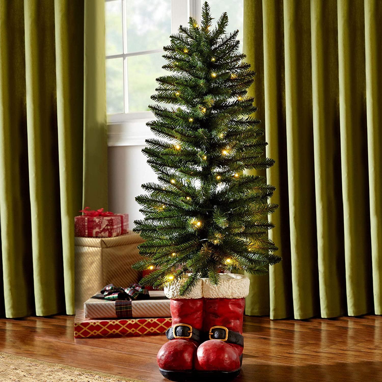 BrylaneHome Christmas 4 Santa Boots Tree, Green