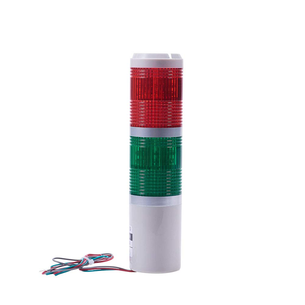 Othmro Warning Light Bulb Industrial Signal Tower Lamp Plastic Electronic Parts Red Green Always on Light No Sound 220V 3W 1PCS