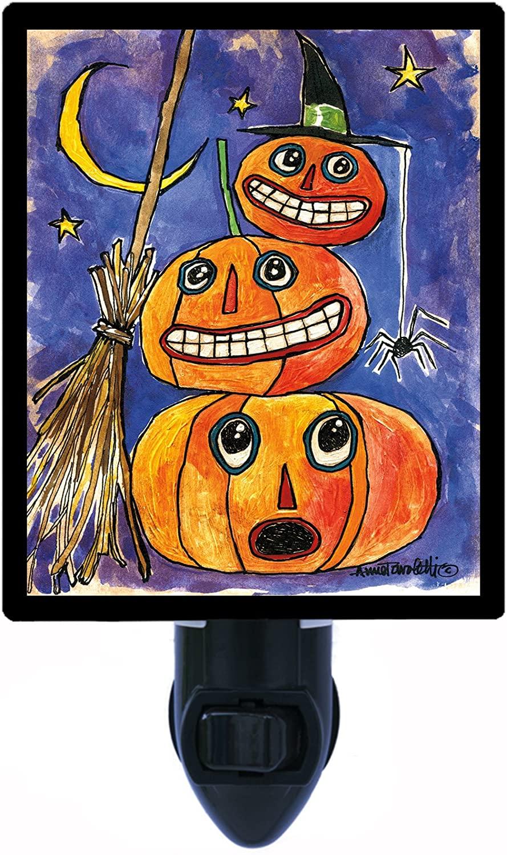 Halloween Night Light, Stacked Pumpkins, Spiders