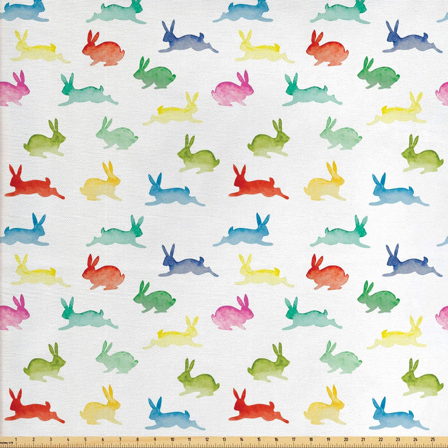 Lunarable Paint Fabric by The Yard, Rabbits in Different Poses Jumping Running Bunnies Happy Easter Paintbrush Art, Decorative Fabric for Upholstery and Home Accents, 10 Yards, Green Red