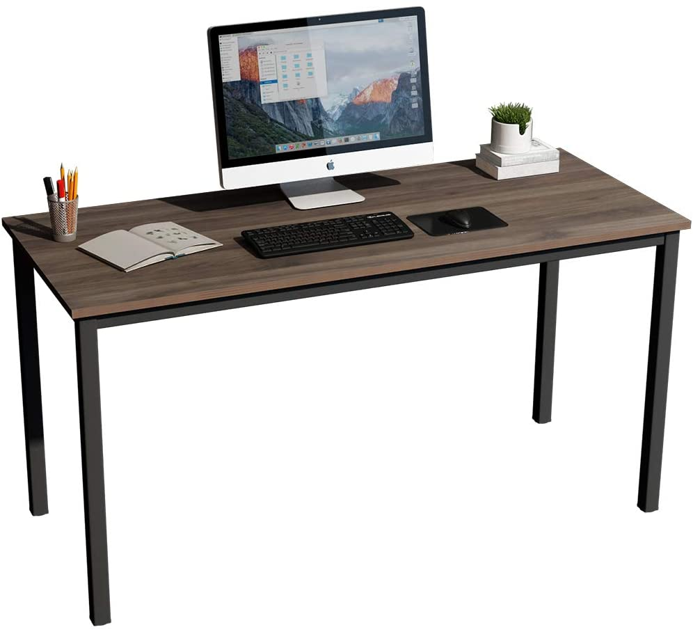 SogesGame Computer Desk 55.1 inches Trestle Desk Writing Home Office Desk Steady Gaming Table Hutch Workstation,Walnut,GCPS-AC3-140BW-S8-US