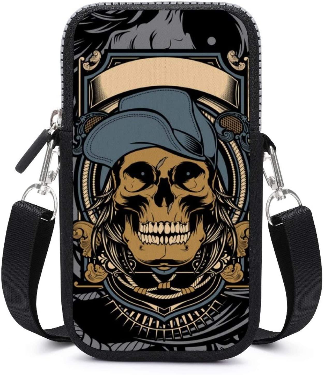 NiYoung Fashion Cell Phone Purse for Women and Girls - Small Crossbody Bag Shoulder Bag (Skull Cross Bone Pattern)
