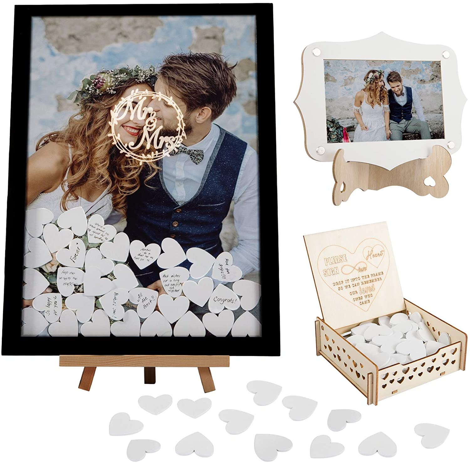 Wooden Wedding Guest Book Alternative Kits- 2pcs Wooden Picture Frame in 2 Sizes with Display Stands+ 100pcs Blank Hearts with Plywood Box Rustic Wedding Decor for Birthday Party Wedding Anniversary