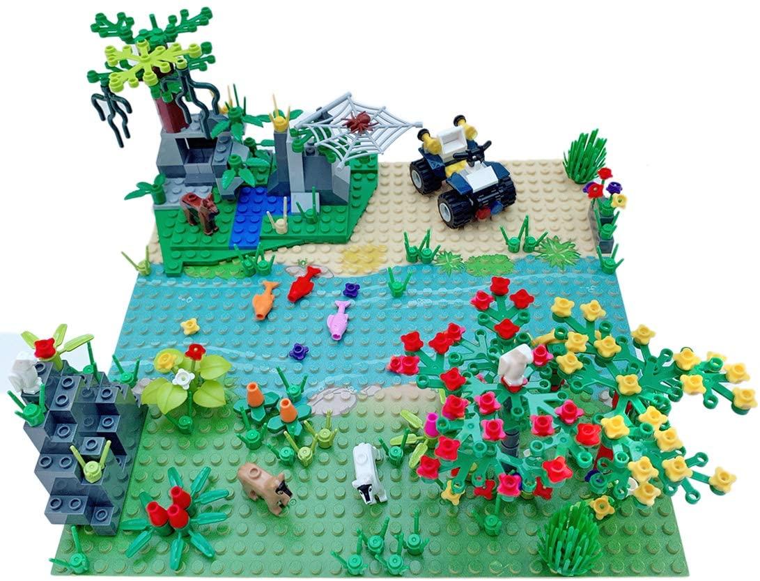 Yamix Garden Park Forest Building Block Toy Set, Botanical Plants Tree Flower River Animal Scenery Building Bricks Compatible with All Major Brands