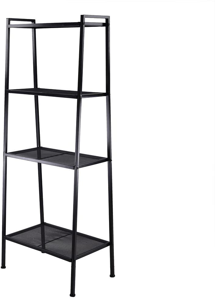 Leaning Bookcase,4-Tier Ladder Shelf Free Standing Metal Bookshelf (Black)