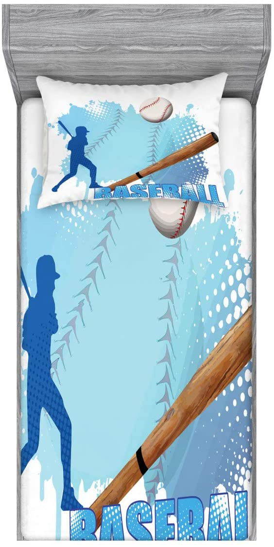Ambesonne Baseball Fitted Sheet & Pillow Sham Set, Silhouette of a Baseball Player with Basic Game Kicking with Bat Sports, Decorative Printed 2 Piece Bedding Decor Set, Twin, Blue and White