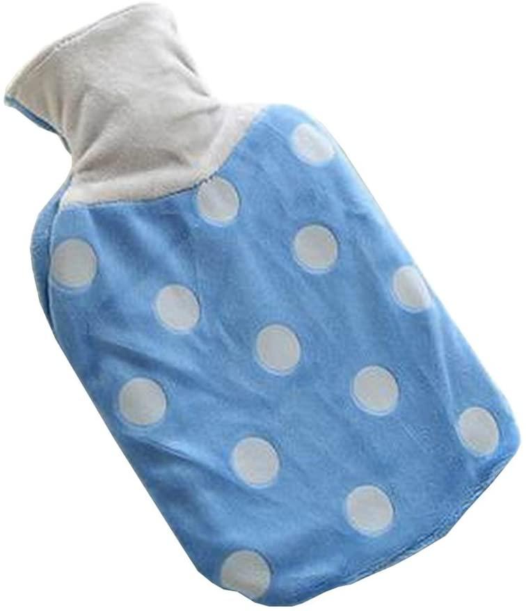 Classic Hot Water Bottle Water Heating Bag Winter Hand Warmer Dot Blue