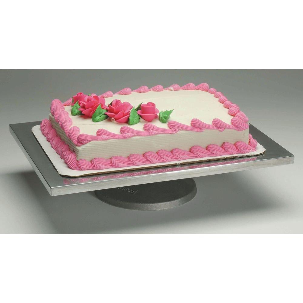 Ateco Rectangular Aluminum Rotating Cake Decorating Stand - 16L x 12W x 4H