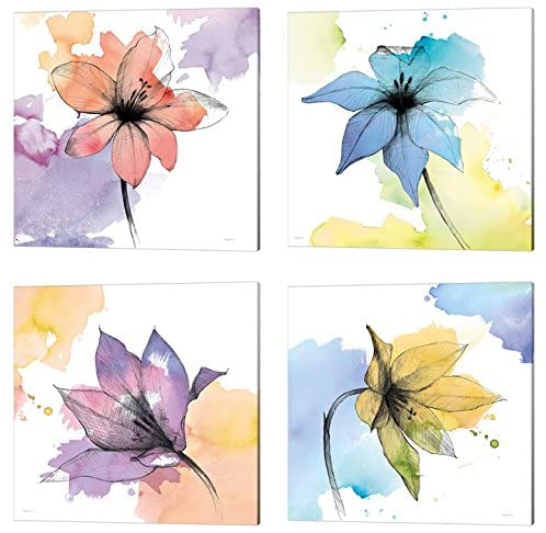 Watercolor Graphite Flower by Avery Tillmon, 4 Piece Canvas Art Set, 10 X 10 Inches Each, Floral Art