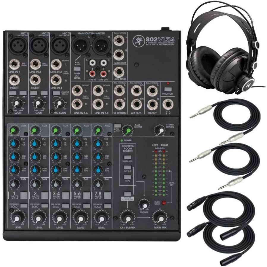 Mackie 802VLZ4 8-Channel Ultra Compact Mixer Bundle with Knox Gear TX-100 Closed-Back Studio Monitor Headphones, 1/4