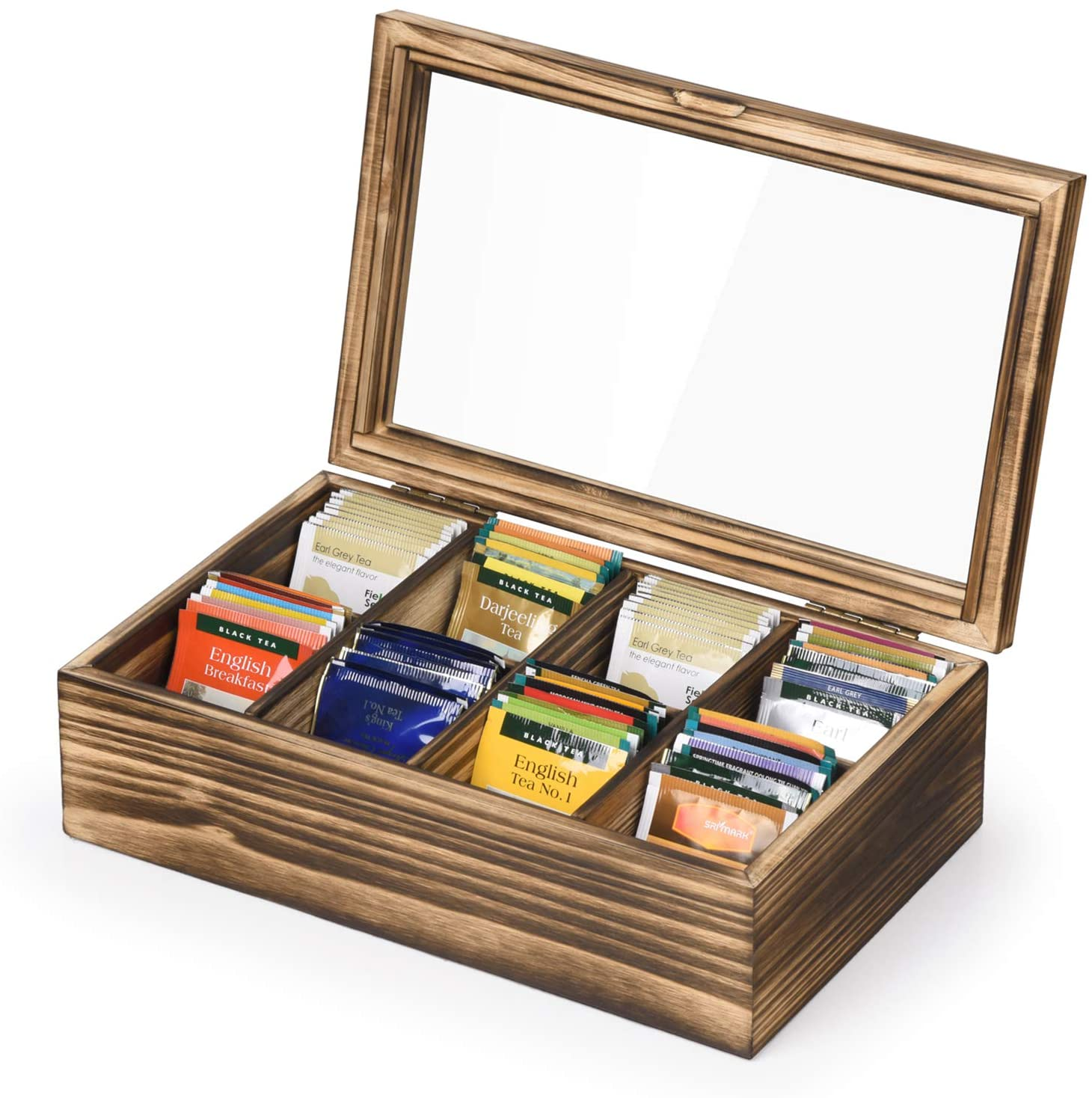 Alsonerbay Wooden Tea Box Tea Bag Holder Kitchen Storage Chest Box for Spice Pouches and Sugar Packets with 8 Compartments and Glass Window Carbonized Black