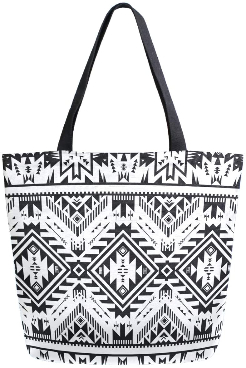 ZzWwR Black and White Tribal Geometric Pattern Extra Large Canvas Beach Travel Reusable Grocery Shopping Tote Bag Portable Storage HandBag