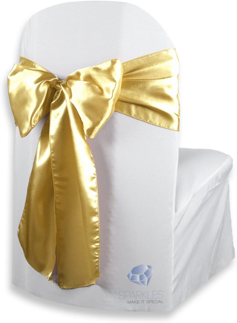 Sparkles Make It Special 100 pcs Satin Chair Cover Bow Sash - Gold - Wedding Party Banquet Reception - 28 Colors Available
