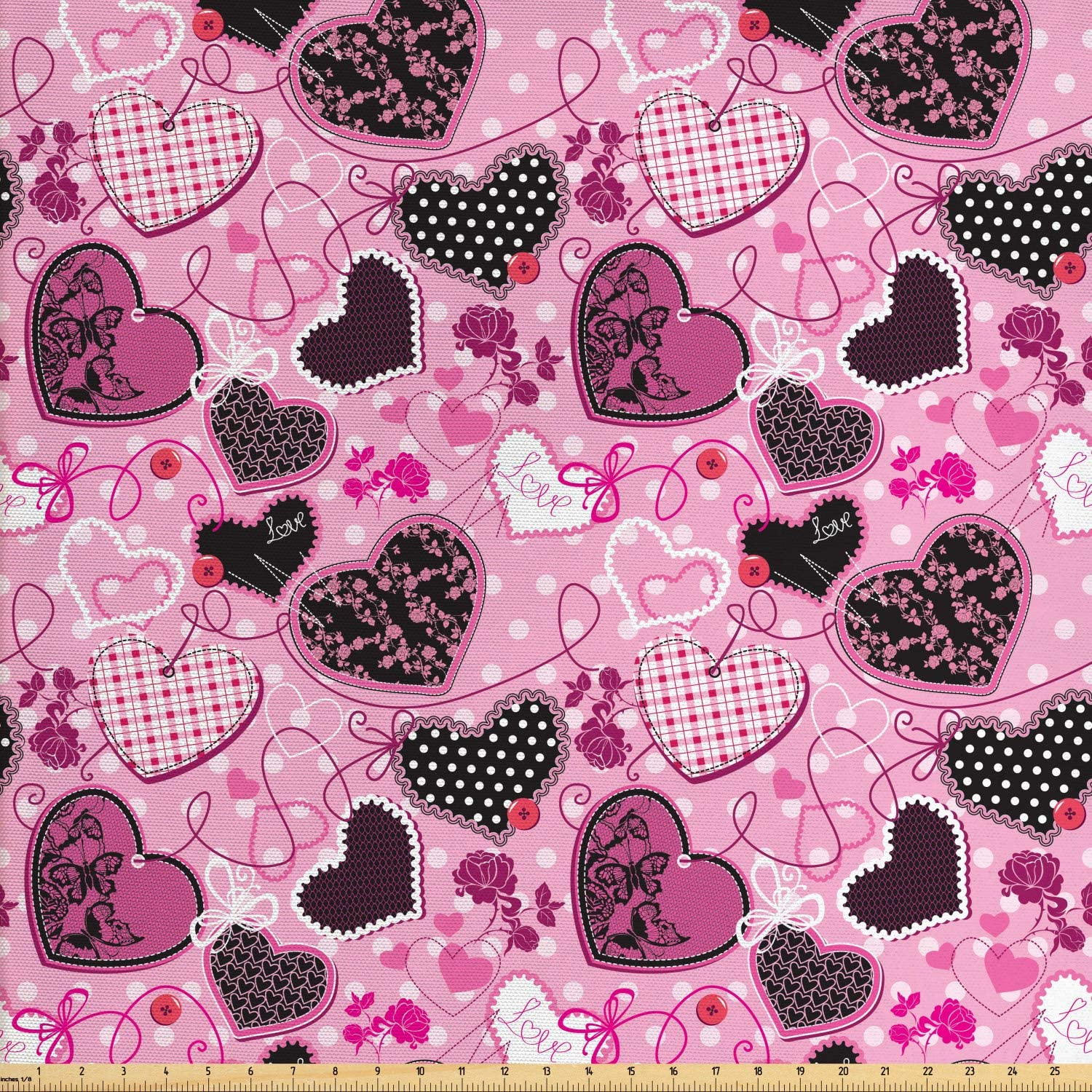 Lunarable Hearts Fabric by The Yard, Sewing Themed Love with Polka Dots Valentine's Day Inspired Image, Decorative Fabric for Upholstery and Home Accents, 3 Yards, White and Black