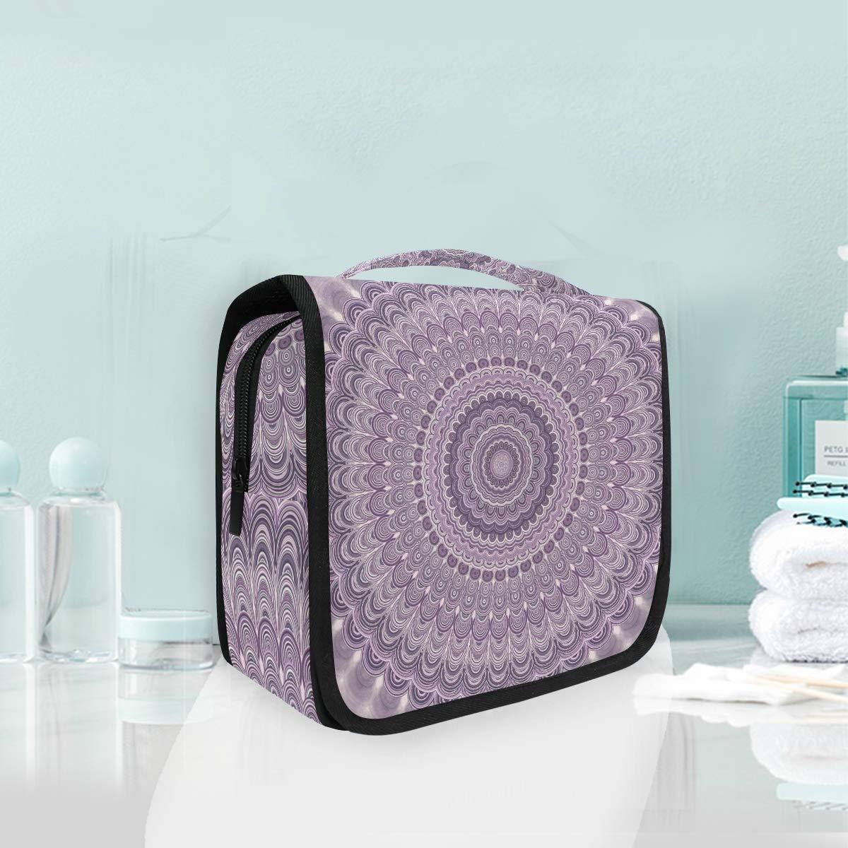 Toiletry Bag Hanging Travel Cosmetic Bag Large Capacity Portable Makeup Bag Light Purple Bohemian Organizer Pouch for Women Girls