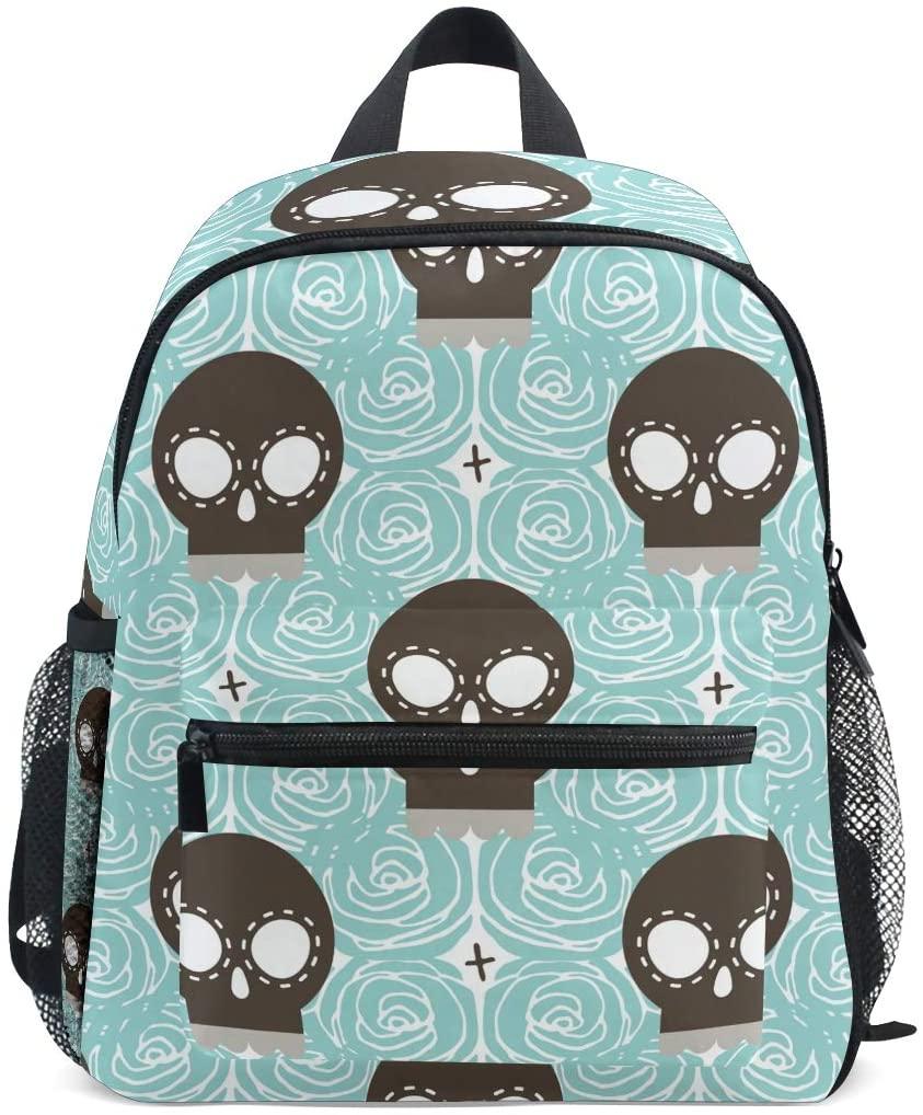 Brown Stylized Skull Kids Backpack Preschool Bag Toddler Backpack with Detachable Chest Clip for Boys Girls