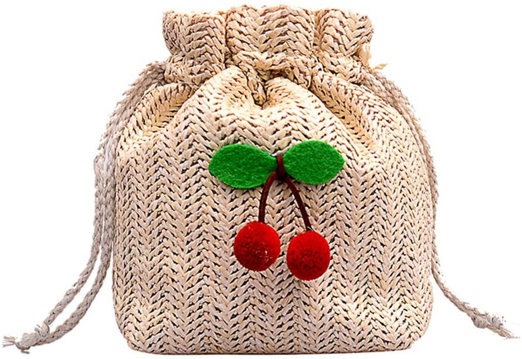 FENICAL Fashion Shoulder Drawstring Bag Cherry Weaving Bucket Bag Cross-body Beach Handbag for Women Ladies (Beige)