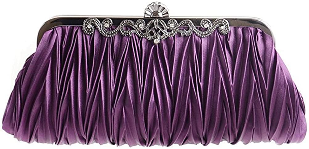 Tinksky Womens Evening Clutch Handbag Girls Wedding Party Purse Handbags (Purple)