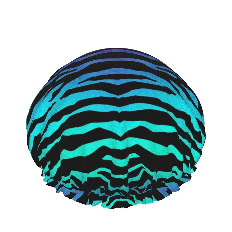 Zebra Print Shower Cap Women Double Layer Waterproof Bath Cap Eva Lining Design For All Hair Lengths