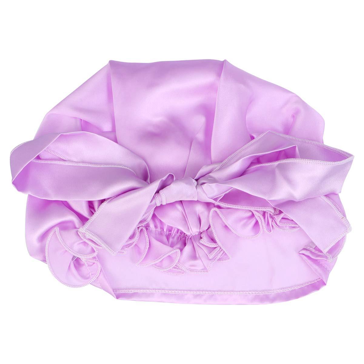 Milisten Elastic Nightcaps with Bow Adjustable Silk Sleep Night Cap Portable Dome Head Cover Bonnet Hat Hair Care Cap for Lady Girls Women (Light Purple)