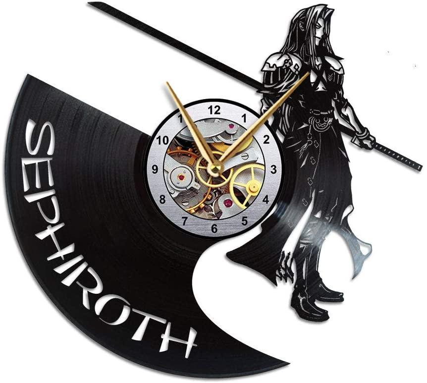AroundTheTime Final Fantasy 7 Clock, FF7 Decor, Final Fantasy VII Vinyl Record Wall Clock, FFVII Gift, Sephiroth