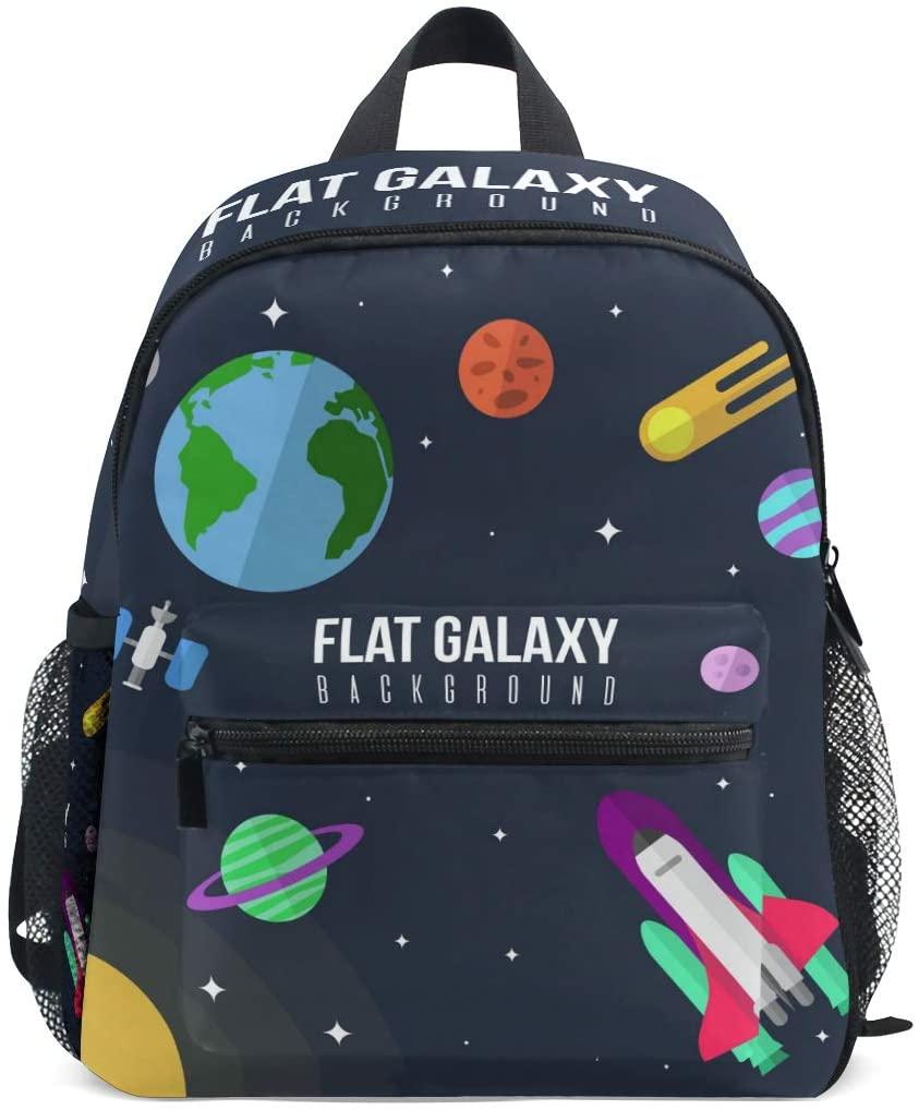 OREZI Flat Galaxy Kids Backpack,Toddler Schoolbag Preschool Bag Travel Bacpack for Little Boy Girl