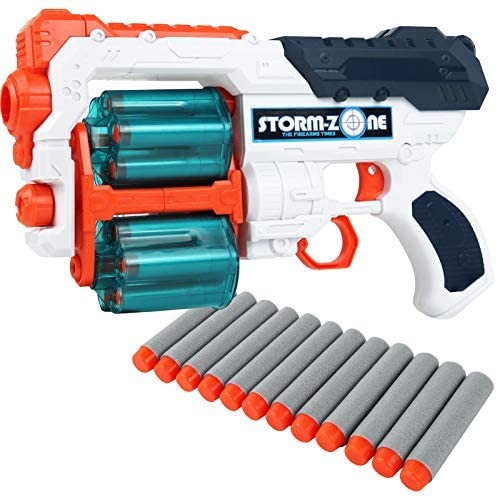 Kiddie Play Toy Gun Dart Blaster Set with Dual Spinning Barrels and 12 Foam Bullets for Kids