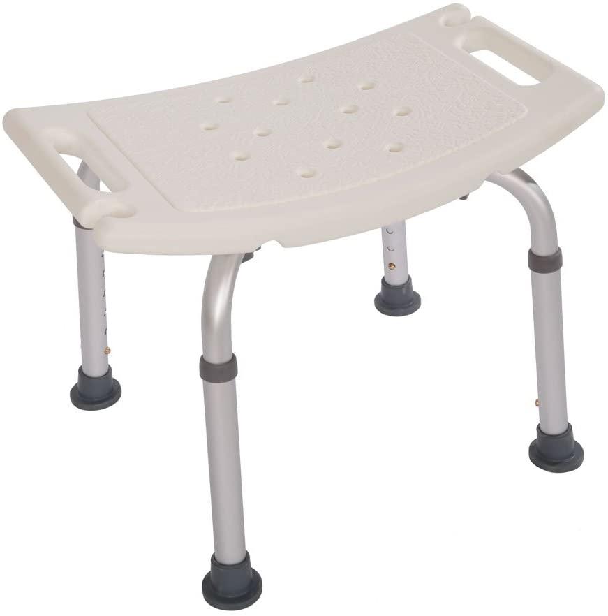 Binrrio Elderly Bath Chair Shower Seat Adjustable Height Transfer Bench Bathtub Chair for Seniors, Adults, Pregnant Women 20'' L x 12''W (White)