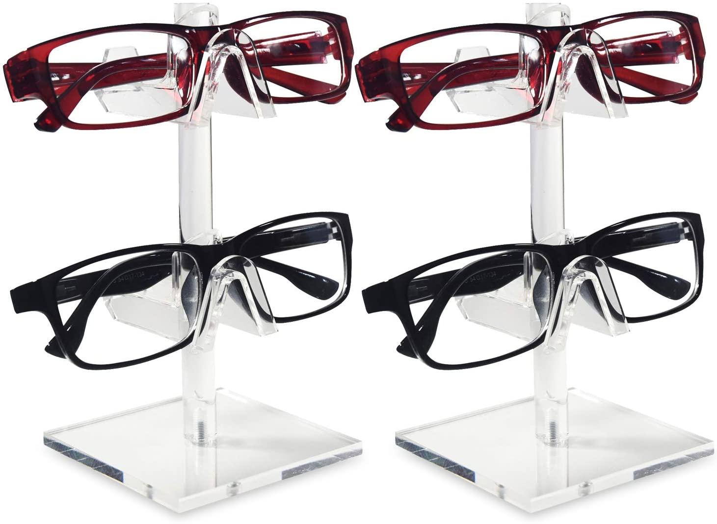 Mooca 2 Piece Set Acrylic Eyeglasses Frame Riser Display Stand Sunglasses Rack Sunglasses Rack Holder Acrylic Eyewear Display (2 Frames for Each Holder)