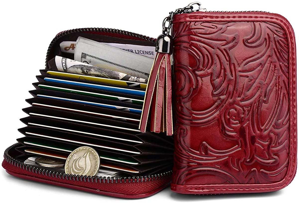 Small Credit Card Cases RFID Blocking Women Card Holder 10 Slots Embossed Ladies Wallet Tassels/Gift Box 1927-2