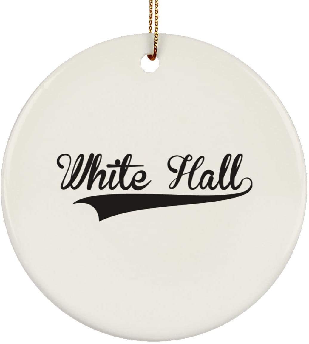 Weezag White Hall Christmas Tree Ornaments Holiday Decorations, Custom City Town Country Personalized Gifts, 9244A