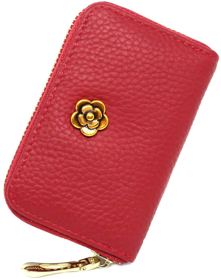 imeetu RFID Credit Card Holder, Zipper Leather Card Case Small Wallet for Women,S(Red)
