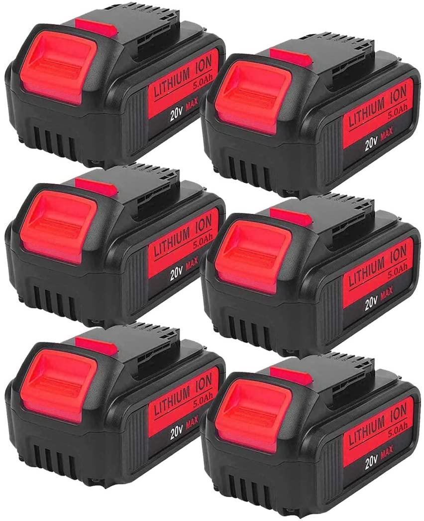 6-Pack 5000mAh 20V DCB200 for Dawalt, Lithium-ion Battery for Dewalt DCB203 DCB204 DCB205 DCB205-2 DCB180 DCD985B DCD771C2 DCS355D1 DCD790B