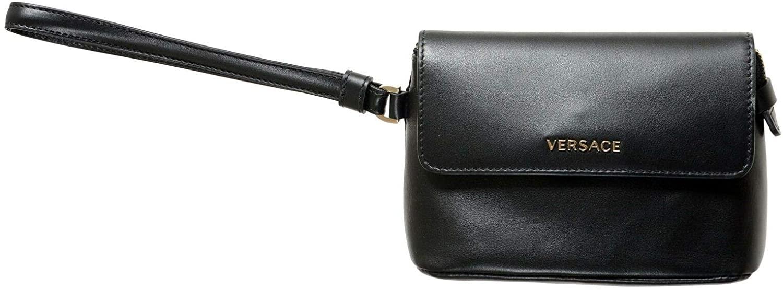 Versace 100% Leather Black Womens Handbag Clutch Bag