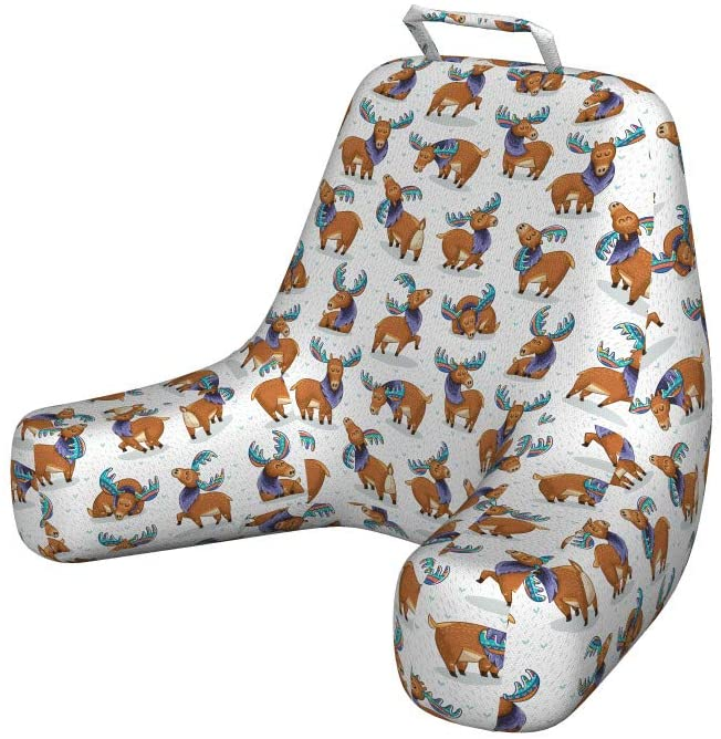 Lunarable Deer Reading Pillow Cover, Moose in Cartoon Elks with Rainbow Antlers Kid Cheerful Comic Pattern, Unstuffed Printed Bed Rest Case from Soft Fabric, XL Size, Turquoise Lavender