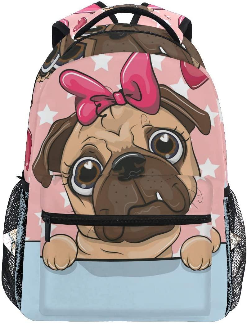 School Backpack Cartoon Pug Dog Girl Teens Girls Boys Schoolbag Travel Bag