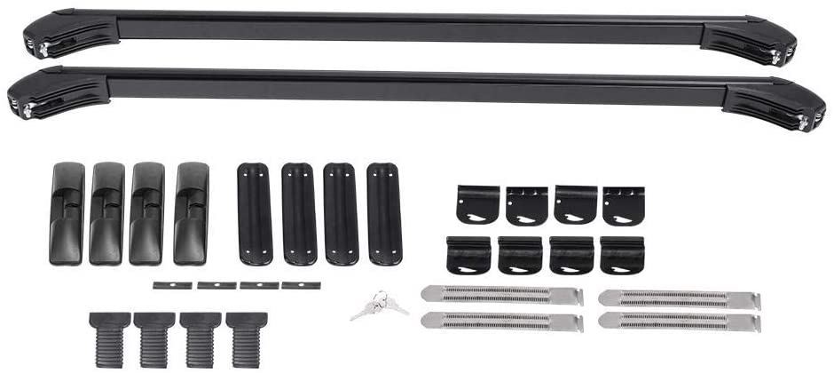 Qiilu Luggage Roof Bars, Universal 2X Aluminum Car Top Luggage Roof Rack Cross Bars Carrier with 2 Keys Top Luggage Bars