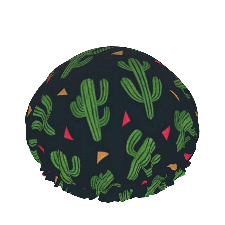 Double Waterproof Layers Shower Cap, Cactus Shower Caps For Women, Double Waterproof Layers Bathing Shower Hat Hair Protection Eva Shower Caps Reusable, Medium Size