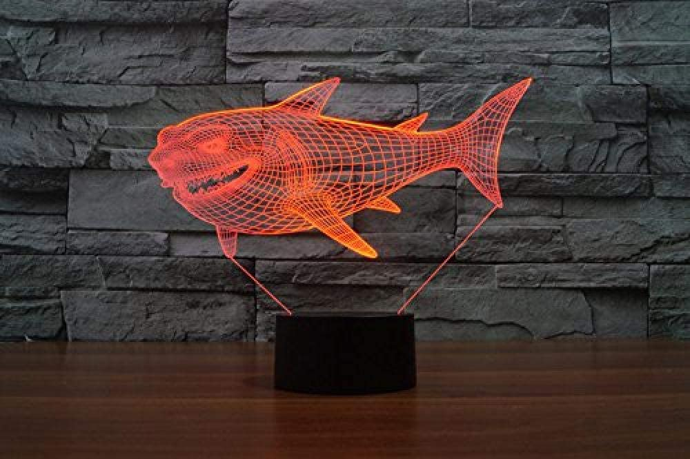 vbgdf 3D Night Light Shark 3D Light 7 Colors Changing Acrylic LED Ligths Touch Switch Home Decoration Atmosphere Lamp Kids Gift Toy