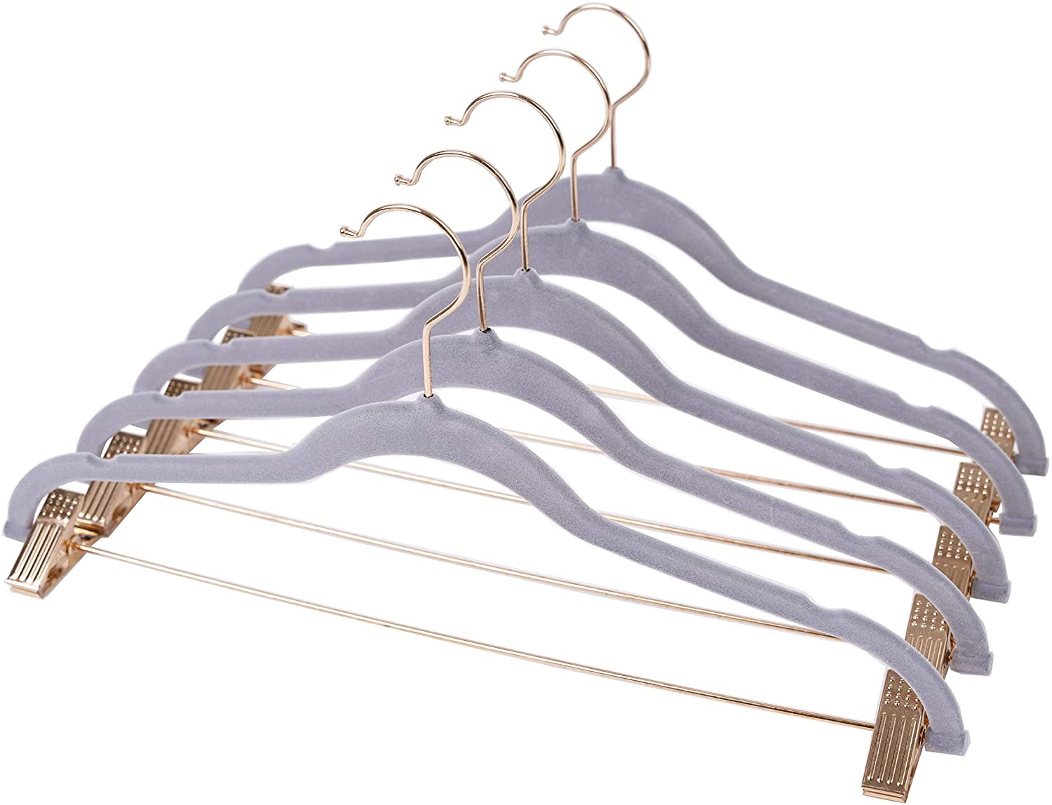 OnCloud-7 Grey Velvet Hangers with Clips 20 Pack, Non Slip Pants and Skirt Hangers with Rose Gold Hooks