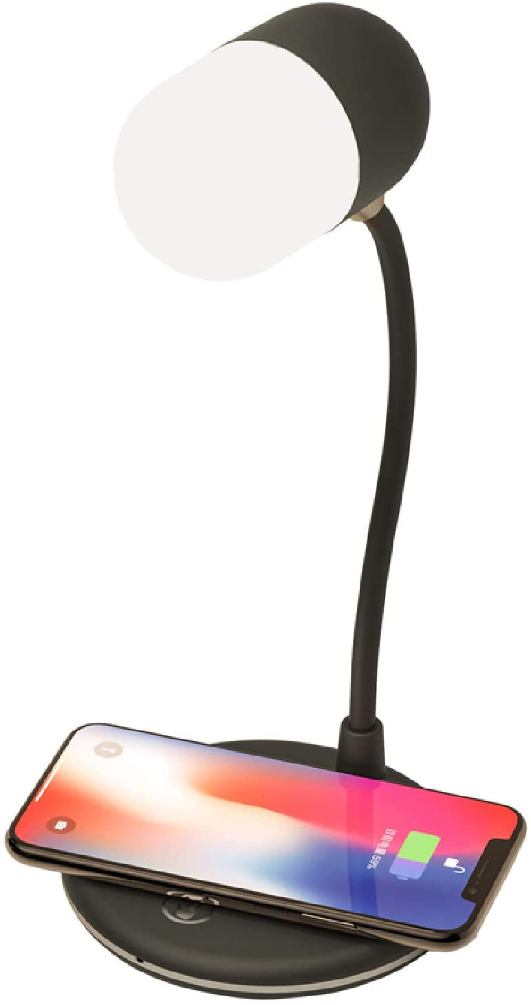 Led desk lamp with QI wireless smart charger. Home office bedside table night light lamp. Bluetooth connected speaker. 3 lighting color changing modes and touch control. Nightlight lamps for bedrooms.