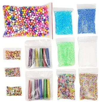Slime Glitter Slime Making Kit Styrofoam Foam Balls Beads Charms Glitter Jars Containers Slime Tools for DIY Craft Homemade Slime Supplies