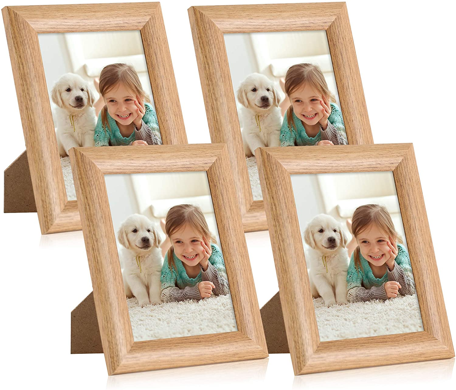 iRahmen 4 Pack 5x7 Sleek Modern Picture Frame Set with High Definition Glass Photo Frame for Desktop Display and Wall Mounting (IR-US004-BR-P5X7)