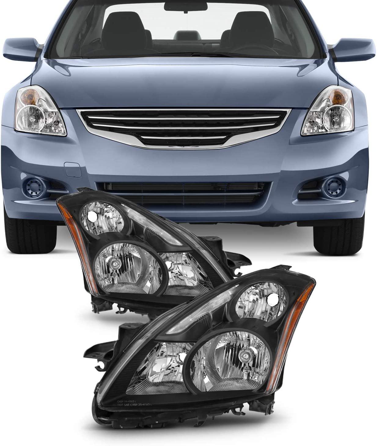 For Black 10-12 Altima 4 Doors Sedan Halogen Type Headlights Front Lamps Replacement Pair Left + Right