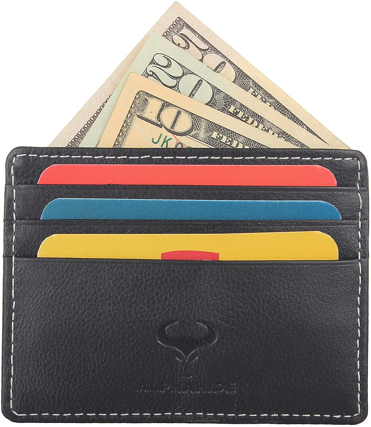 Genuine Leather Credit Card Holder - Thin ID Holder - Front Pocket Wallet - Slim Pouch - RFID Blocking